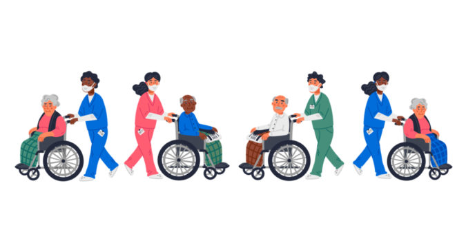 cartoon graphic of nursing home workers and residents